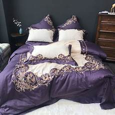 luxury cotton purple elegance bedding embroidery silky duvet cover bed sheet