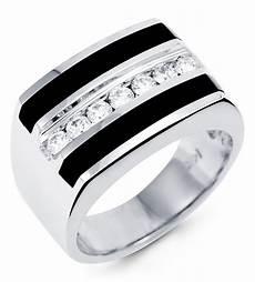 new 14k white gold black onyx diamond men s band ring