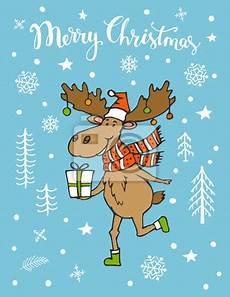 frohe weihnachten s 252 223 e gru 223 karte mit lustigen elch hirsch