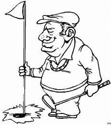 golfer bei fahne ausmalbild malvorlage comics