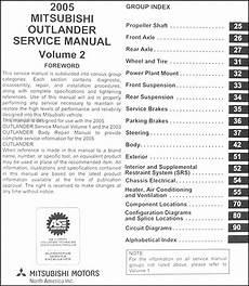 online car repair manuals free 2005 mitsubishi outlander user handbook 2005 mitsubishi outlander repair shop manual original