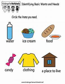 worksheets basic 18788 identifying basic wants and needs worksheet for kindergarten