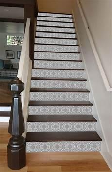 grey mosaic tile painted stairway 15 stairs grey mosaic