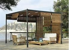 Pergola Bauen Modern Sitzecke Bambus Sessel Dachterrasse