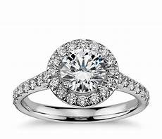 round halo diamond engagement ring in 14k white gold 1 2 ct tw blue nile
