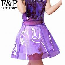 harajuku holographic clear pvc vinly plastic overall dress