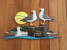 seagulls beach coastal nautical metal wall decor lake
