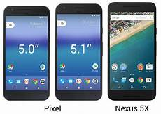pixel and pixel xl sized up against each other and the nexus and nexus 6p phonearena