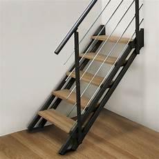 Escalier Modulaire Escavario Structure Acier Marche Bois