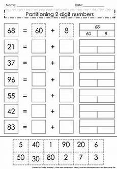 place value and partitioning worksheets 5642 partitioning 2 digit numbers 2nd grade math worksheets 1st grade math worksheets second