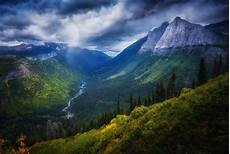 flower valley hd wallpaper valley mountain forest river cliff shrubs clouds