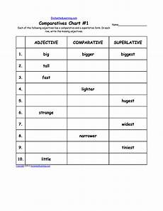 comparatives chart worksheets write the missing adjective in each chart school literacy