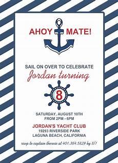 nautical birthday card template nautical blue anchor birthday invitation birthday