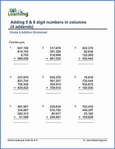 worksheets on 4 digit addition 9173 grade 4 addition worksheets adding four 5 and 6 digit numbers k5 learning