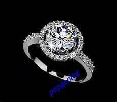18k white gold gp big swarovski crystal gift wedding engagement ring ebay