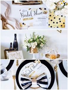 black white gold geometric bridal shower party