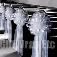 6 large 10 quot white tulle pew bows wedding church aisle