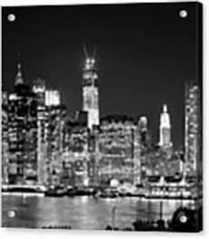 new york city bw tribute in lights and lower manhattan at black and white nyc photograph