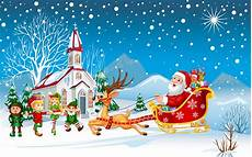 happy christmas santa claus with his sleigh with christmas gifts merry kids hd desktop