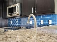 Blue Glass Tile Kitchen Backsplash The Classic Of Subway Tile Backsplash In The Kitchen