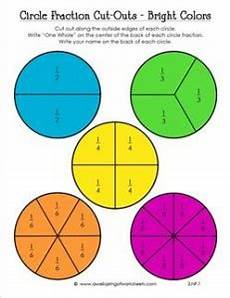circle fraction cut outs in bright colors third grade fractions