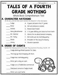 tales of a fourth grade nothing worksheets tales of a fourth grade nothing test final book quiz with answer key