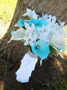 sky blue bouquet with real touch calla lilies ruffle