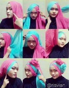 Model Jilbab Segi Empat 2 Lapis