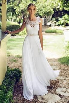 2019 vintage lace chiffon wedding dresses cheap long bridal dresses for outfoor weddings ba6498