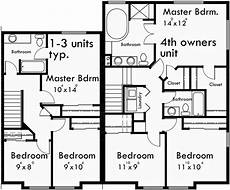 4 plex house plans 4 plex plans fourplex with owners unit quadplex f 551