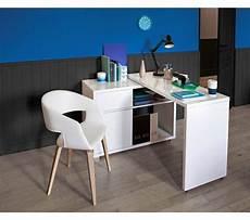 Bureau D Angle Space Blanc Brillant Bureaux But Maison