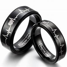 fashion black tungsten carbide ring with laser engraved