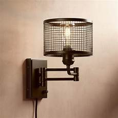 chad industrial cage plug in swing arm led wall l