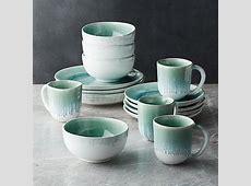Caspian 16 Piece Aqua Reactive Glaze Dinnerware Set