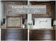 How To Paint Kitchen Tiles Before And After i painted our kitchen tile backsplash the wicker house