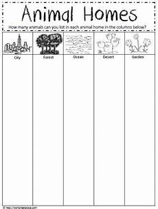 animal homes worksheet teaching things animal habitats kindergarten worksheets matching