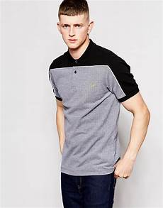 lyst fred perry polo shirt with block color shoulders in