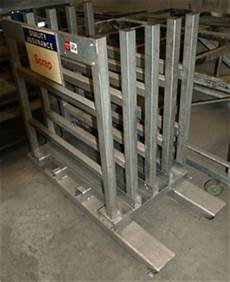 mobile vertical sheet metal rack 4 bay on castor wheels and fork lift tyre auction 0126