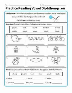 practice reading vowel diphthongs ou worksheet education com