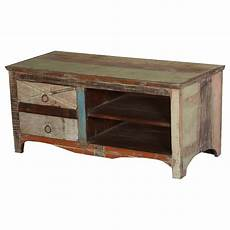 Tv Regal Holz - eco green rustic reclaimed wood open shelf 2 drawer tv