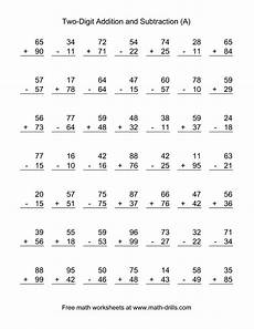 2nd grade math worksheet subtraction adding and subtracting two digit numbers second grade
