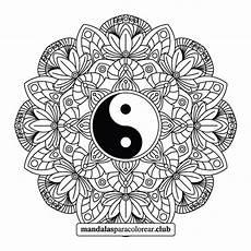 mandala yin yang floreado para imprimir pdf y jpg gratis
