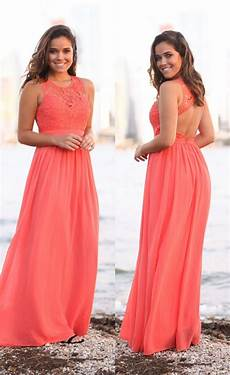 coral beach bridesmaid dresses long sleeveless 2017 new lace top chiffon skirt summer wedding