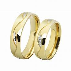 fashion cz diamond couple rings for men 18k gold plated stainless steel wedding ring pair