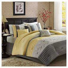 yellow moroe embroidered comforter queen 7pc target