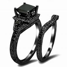 his and hers black wedding rings