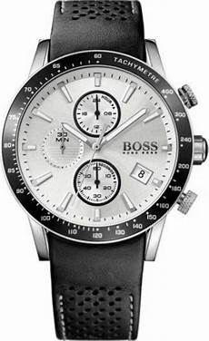 boss uhren herren schwarz s hugo black leather chronograph 1513403