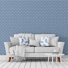 blaue tapeten florale ornamenttapete damast muster klassisch in blau