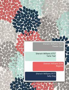 dahlia floral shower curtain in navy coral aqua gray pantone aqua color and unique
