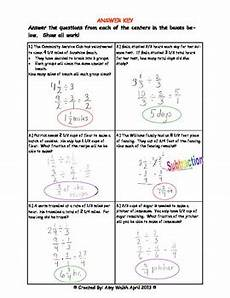 fraction word problems worksheets answers 10973 fraction word problem division centers grade 6 with answer key by w